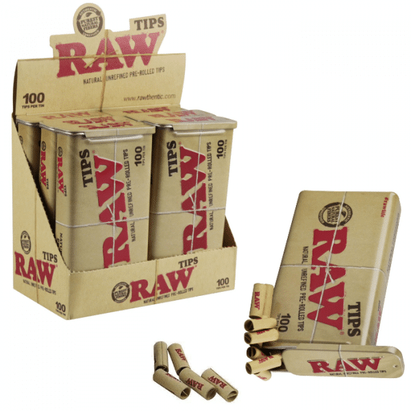RAW Natural Unrefined 100 Tip Pre rolled Travel Tin – 6ct per Box.
