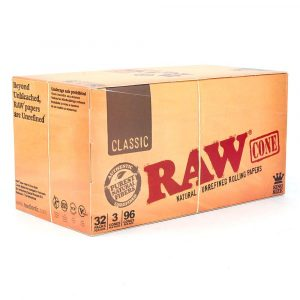 retail display raw classic king size pre rolled cones 109mm hemp paper 96 count smoke shop supply marijuana packaging 433420 1024x
